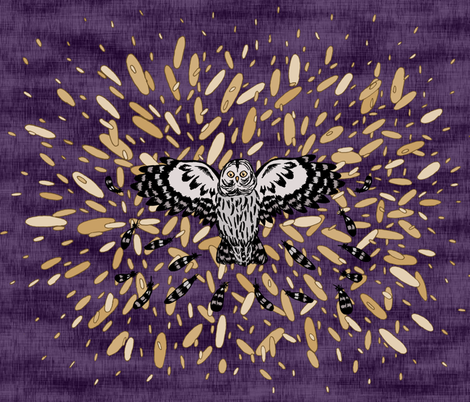 Owl and Fragmented Starburst  fabric by pond_ripple on Spoonflower - custom fabric