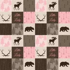 "3"" Little Lady Quilt - pink and brown - moose, bear, antlers - baby girl"