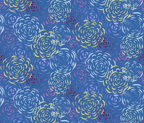 Fractal Frazzle Blue fabric by cleolovescolor on Spoonflower - custom fabric