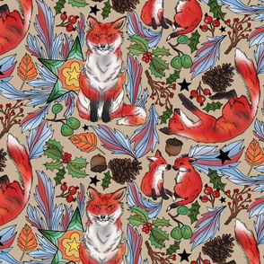 Fox Friends in Foliage Watercolor