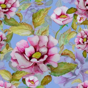 WATERCOLOR PEONIES ON LILAC MAUVE
