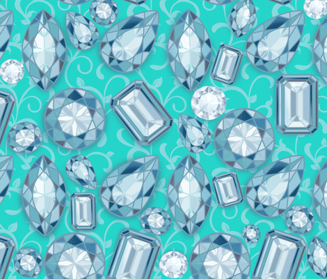 Blue Diamonds Tiffany Large Scale fabric by honoluludesign on Spoonflower - custom fabric