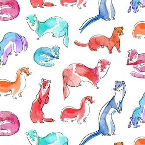 Watercolor Weasels