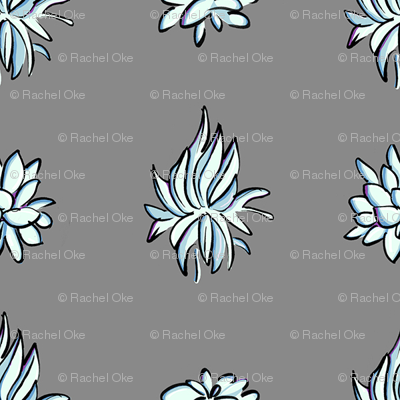 Succulent Polka in Gray