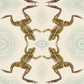 leopard frog leap, off white splash