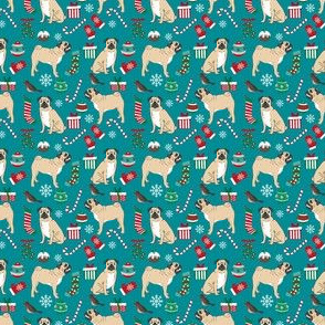 Pug christmas fabric ornaments teal - smaller version