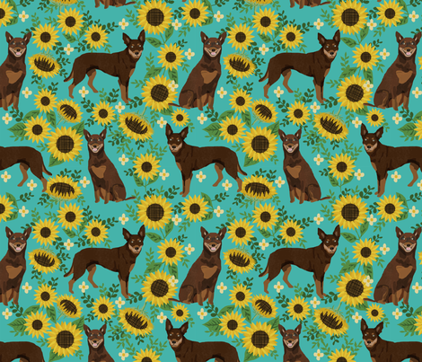 Kelpie red and tan sunflowers large scale  fabric by petfriendly on Spoonflower - custom fabric