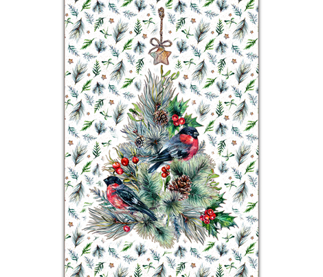Tea Towel-Winter Tree Birds
