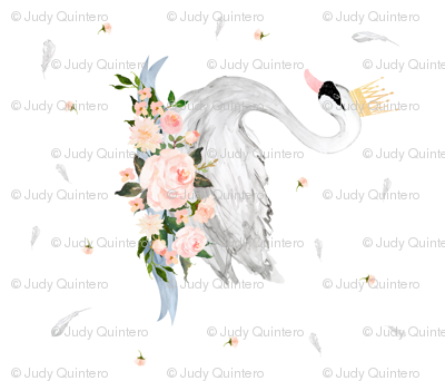 "42""x36"" Floral Swan with Free Falling Flowers"