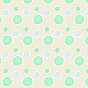 Fish offwhite/ wht  white lines /  mint bubbles