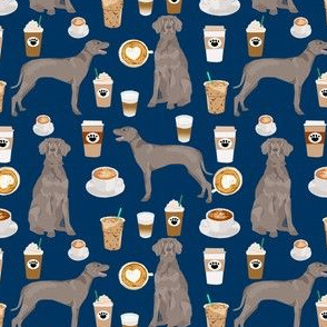 weimaraner dog fabric and coffees - navy (smaller version)