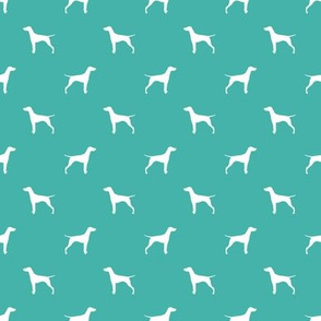 vizsla dog silhouette fabric - turquoise (smaller version)