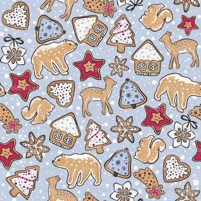 Gingerbread on light blue background