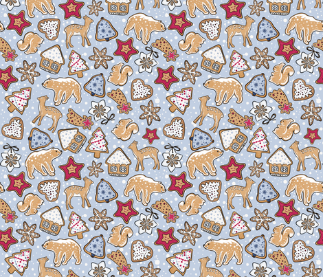Gingerbread on light blue background fabric by alenushka on Spoonflower - custom fabric
