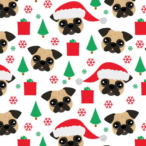 Pug Christmas fabric by jannasalak on Spoonflower - custom fabric