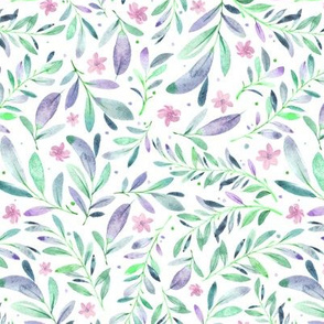 Watercolor Flowers & Branches in Green, Teal, Purple and Blue, SCALE D