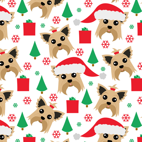 Yorkie Christmas fabric by jannasalak on Spoonflower - custom fabric