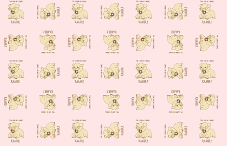 lion cub on baby pink fabric by gothiccolour on Spoonflower - custom fabric