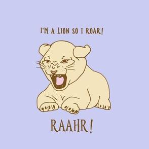 lion cub on lavender
