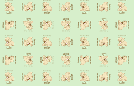 lion cub on pistachio fabric by gothiccolour on Spoonflower - custom fabric