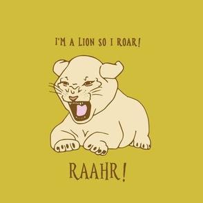 lion cub on golden yellow