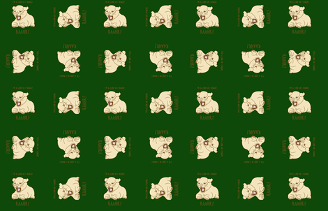 lion cub on bottle green fabric by gothiccolour on Spoonflower - custom fabric