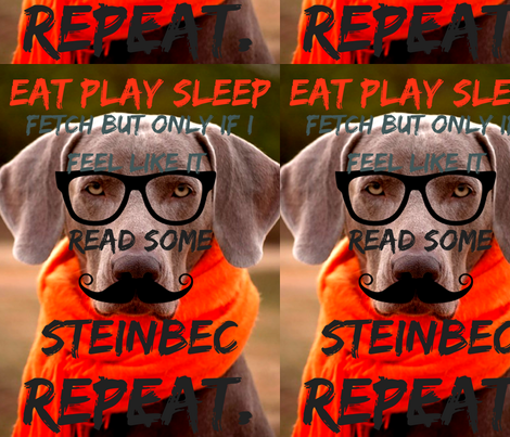 EAT PLAY SLEEP READ SOME STEINBECK.REPEAT. fabric by rhmehu on Spoonflower - custom fabric