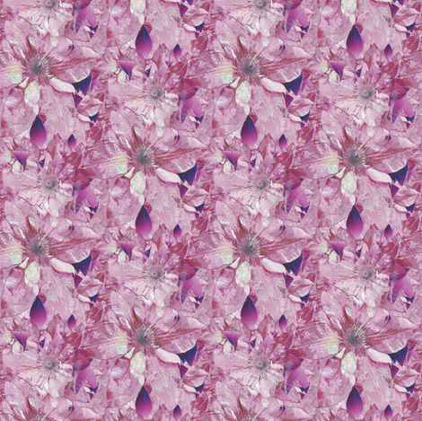 Seamless Plum Violet Clematis Blossoms - new fabric by missourah_gal on Spoonflower - custom fabric