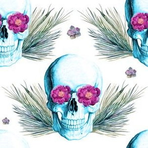 "6"" Floral Skulls - Blue Skull with Flowers"