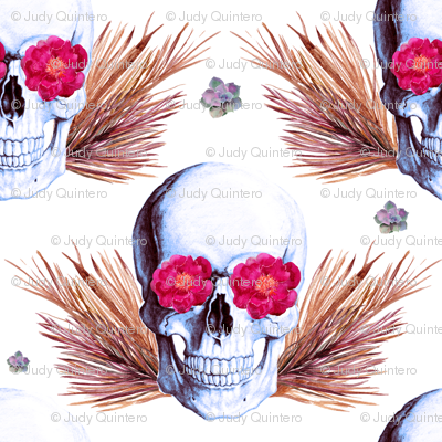 "6"" Floral Skulls - Bright Pink and Gold"