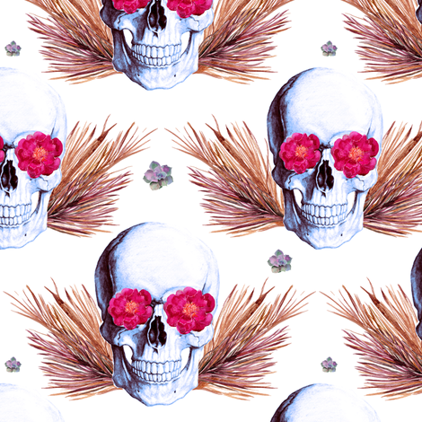"6"" Floral Skulls - Bright Pink and Gold fabric by rebelmod on Spoonflower - custom fabric"