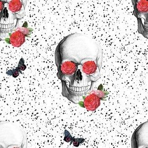 "6"" Floral Skulls - Black and White with Pink Flowers"