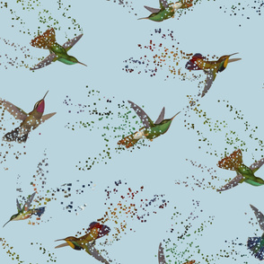 Pixelated Hummingbirds Large Scale
