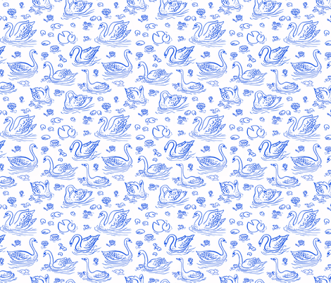 SWANS LAKE fabric by oanabefort on Spoonflower - custom fabric