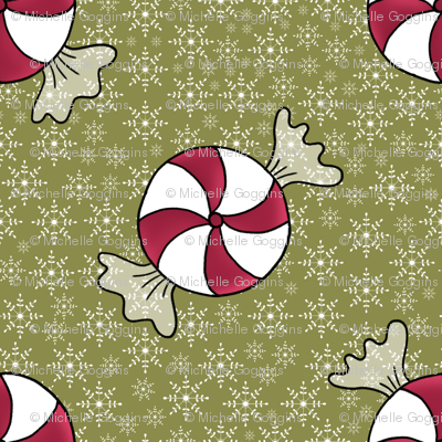 Candies on snowflakes green