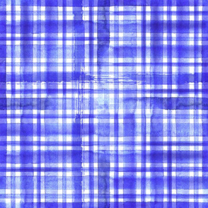 Blue Watercolor Plaid