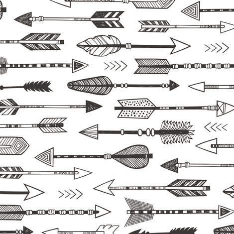 Arrows in Black&White Rotated fabric by caja_design on Spoonflower - custom fabric