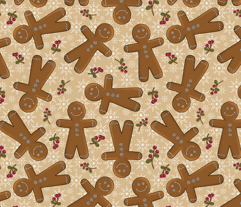 Tossed Gingerbread fabric by mgdoodlestudio on Spoonflower - custom fabric