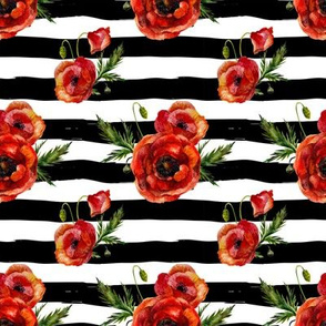 Small // Red Poppies // Black and White Stripes
