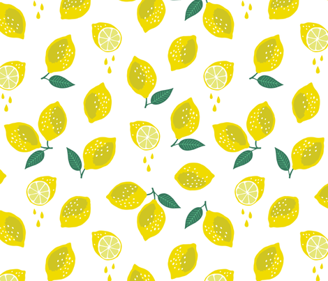 Lemony fresh (large) fabric by heleen_vd_thillart on Spoonflower - custom fabric