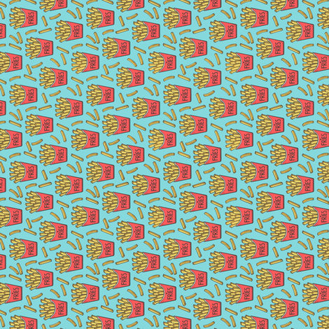 French Fries Fast Food Red on Blue Tiny Small Rotated fabric by caja_design on Spoonflower - custom fabric