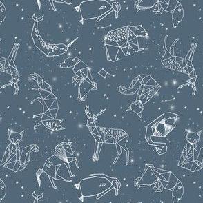Constellations // animal geometric constellation fabric payne's grey