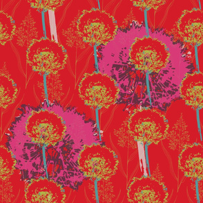 Dandelion with Grasses - Brights on Red