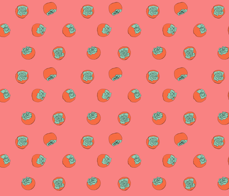 Persimmon pink&Org fabric by inky_leguin on Spoonflower - custom fabric