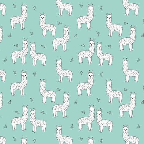 alpaca // mint white alpaca animal nursery fabric fabric by andrea_lauren on Spoonflower - custom fabric