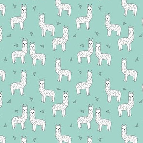 alpaca // mint white alpaca animal nursery fabric