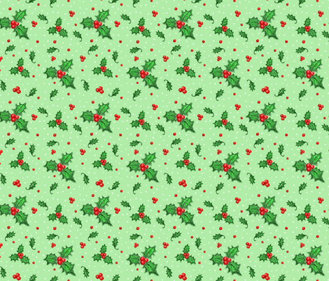 Holly snowy flurry  fabric by darkandbright on Spoonflower - custom fabric
