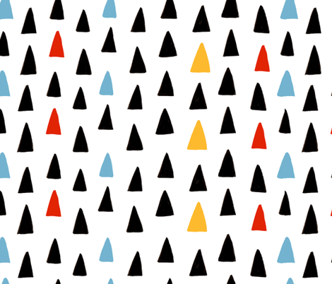 Triangle Forest - Blue/Red/Black/Yellow fabric by honeyberrystudios on Spoonflower - custom fabric