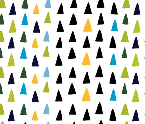 Triangle Forest - Green/Blue/Black/Yellow fabric by honeyberrystudios on Spoonflower - custom fabric