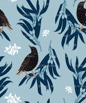 Starling + Olive in Light Blue + White Floral